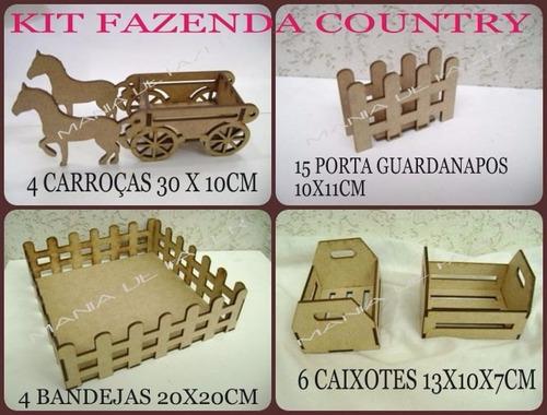 kit 29 pçs  fazendinha festa country decoração mdf  cru