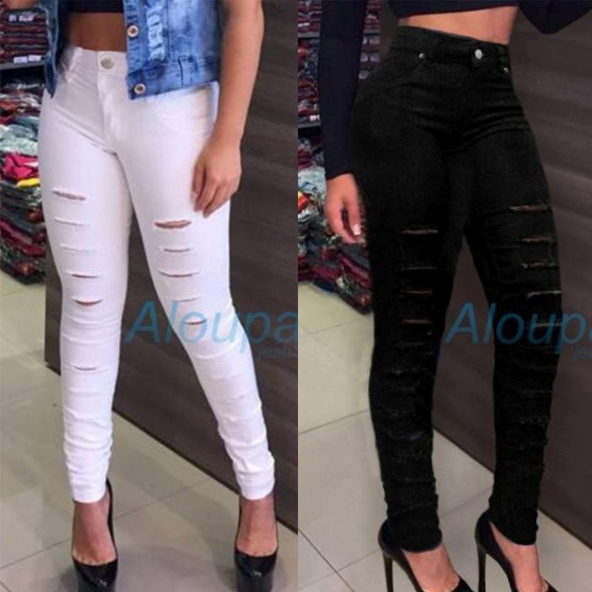 2c7ba303c kit 2pç roupa feminina calça jeans rasgada cintura alta. Carregando zoom.