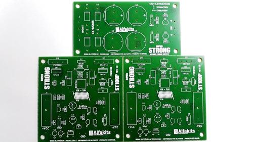 kit 2placas lisas amplificador +1 fonte superstrong alfakits