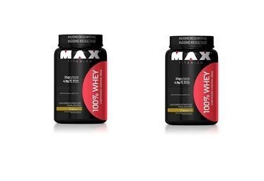 kit 2x 100% whey protein max titanium 900gr pote - promoção
