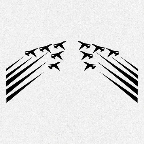 kit 2x adesivos aviões de caça 18cm x 18cm d011
