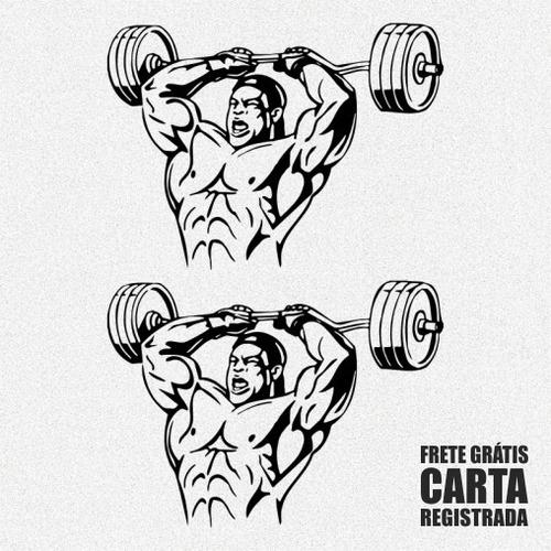 kit 2x adesivos de academia fitness musculação 30cm a432