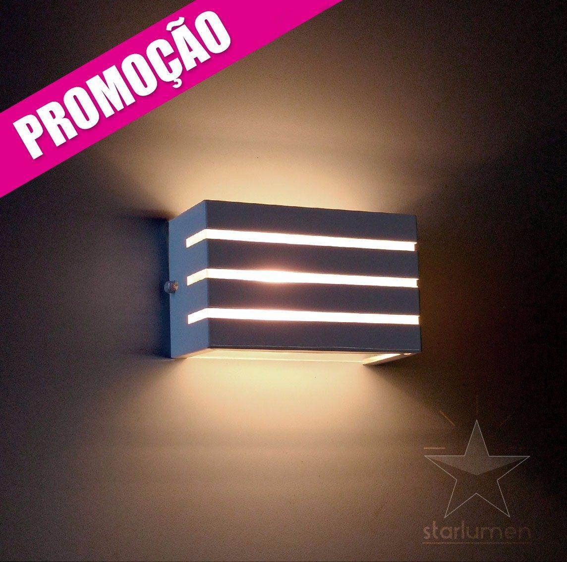 Kit 2x arandela frisada lumin ria parede muro externa for Luminarias para piscinas