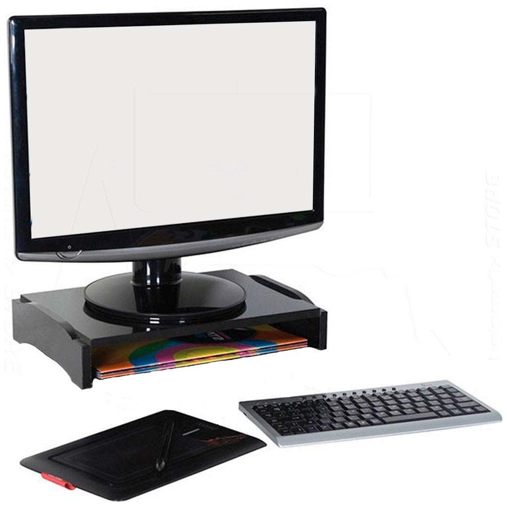 Kit 2x bases suporte monitor sem gavetas modular preto nr - Medidas de monitores para pc ...
