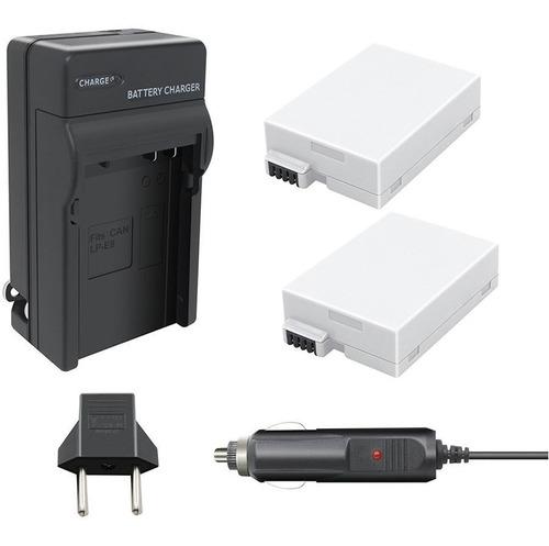 kit 2x baterias + carregador lp-e8 canon p/ t2i t3i t4i t5i