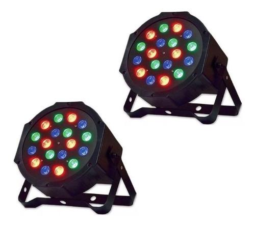 kit 2x canhão par luz 18 leds 1w rgb dmx strobo iluminaçã