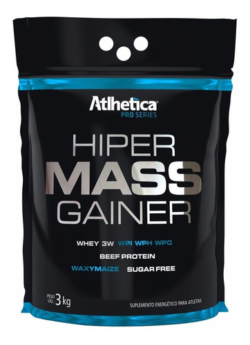 kit 2x hipercalórico mass gainer (3kg) - atlhetica + brinde