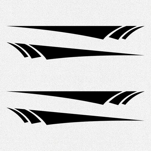 kit 2x pares adesivo tunning friso faixas laterais 40cm a452