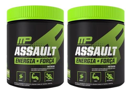 kit 2x pré treino assault 300g 60 doses musclepharm
