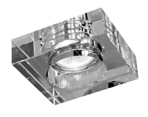 kit 2x spot cristal quadrado de embutir c/ lamp. led 4w bq