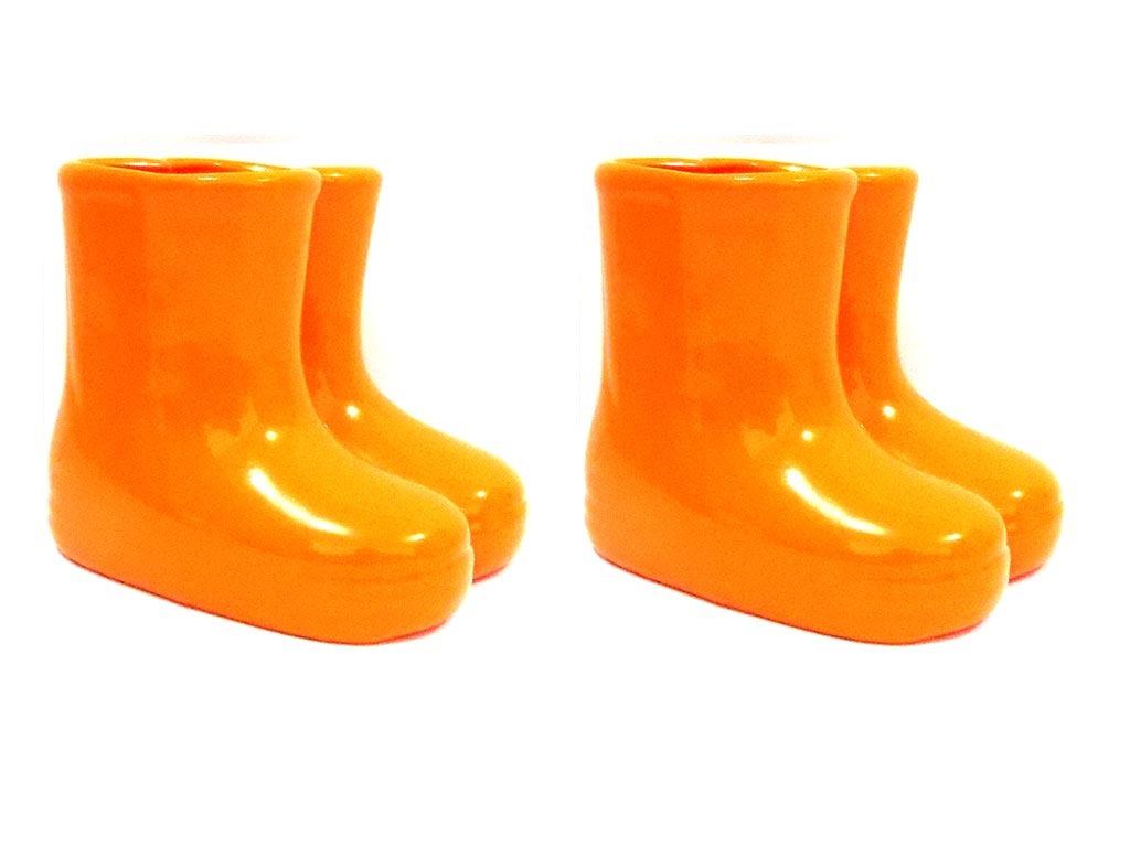 27ec9385fc5 kit 2x vaso vasinho cerâmica galochas botinhas bota laranja. Carregando  zoom.
