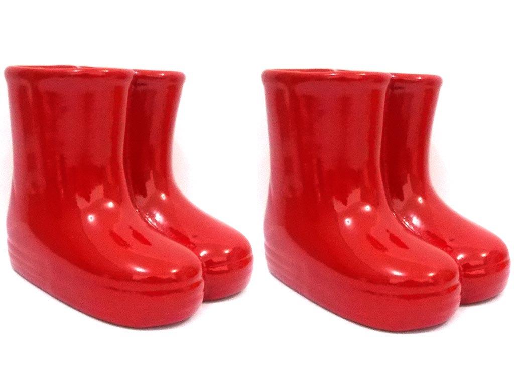 9ed336b6124 kit 2x vaso vasinho cerâmica galochas botinhas bota vermelho. Carregando  zoom.