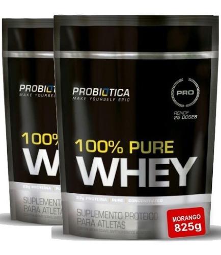 kit 2x whey 100% pure refil 825g - probiótica frete grátis