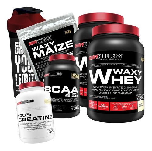kit 2x whey 900g + bcaa + creatina + coquet. + waxy maize