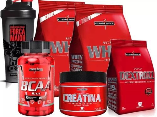 kit 2x whey 900g + bcaa + creatina + coqueteleira+ dextrozz