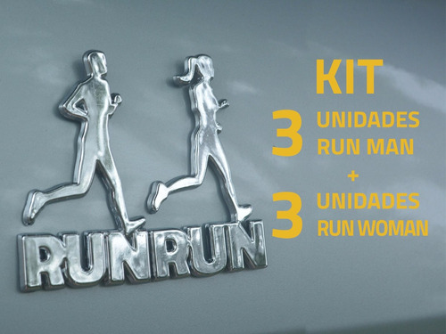 kit 3+3 adesivos alto relevo 3d 3m corredor e corredora crom