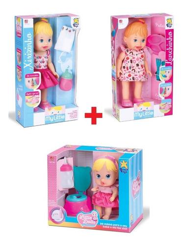 kit 3 baby my little faz xixi + lanchinho + dolls xixi