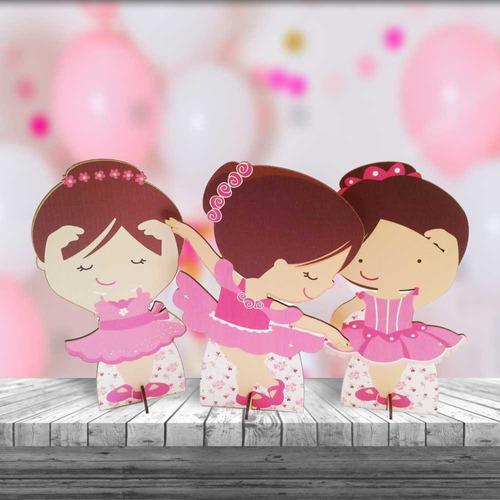 kit 3 bailarina cenário decoração aniversário festa infanti