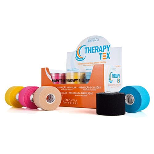kit 3 bandagens elásticas terapêutica therapy tex azul