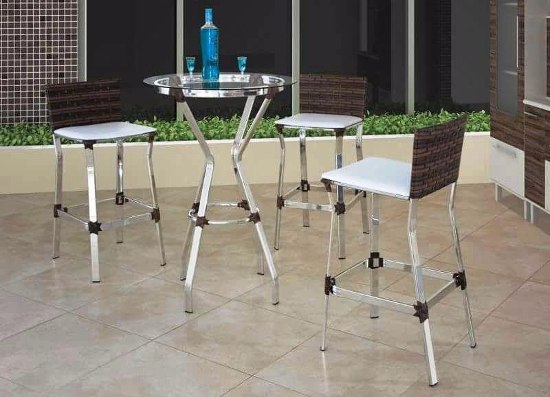 Kit 3 Banqueta + Mesa Bar Cozinha Com Encosto Alta Aluminio