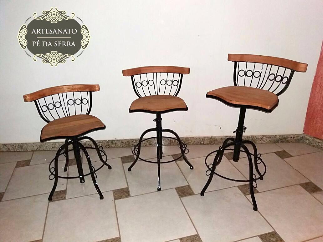Kit 3 Banquetas Alta Cozinha Americana Ferro E Madeira 80cm R  ~ Cozinha Americana Em Madeira