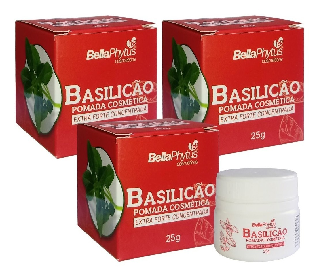 Basilicão Pomada Extra Forte Concentrada 25g Bella Phytus Kit 3 Unidades