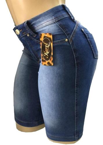 kit 3 bermuda feminina ciclista jeans lycra até o joelho)