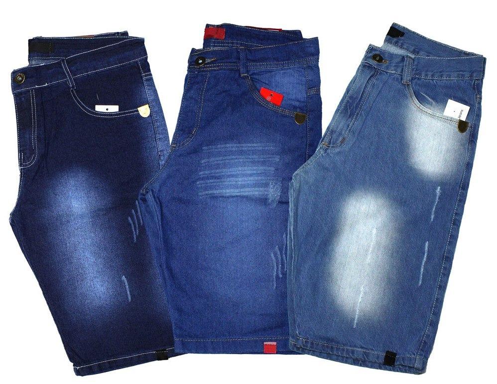 23eea78716 Kit 3 Bermuda Short Jeans Slim Masculina Destroyed Rasgada - R  99 ...