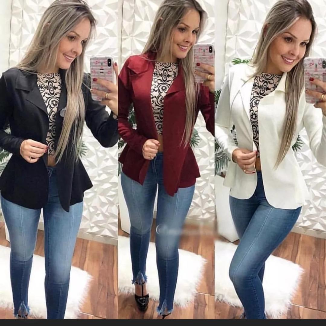 25621e5be6 kit 3 blazer casaco jaqueta blusa social slim feminino. Carregando zoom.