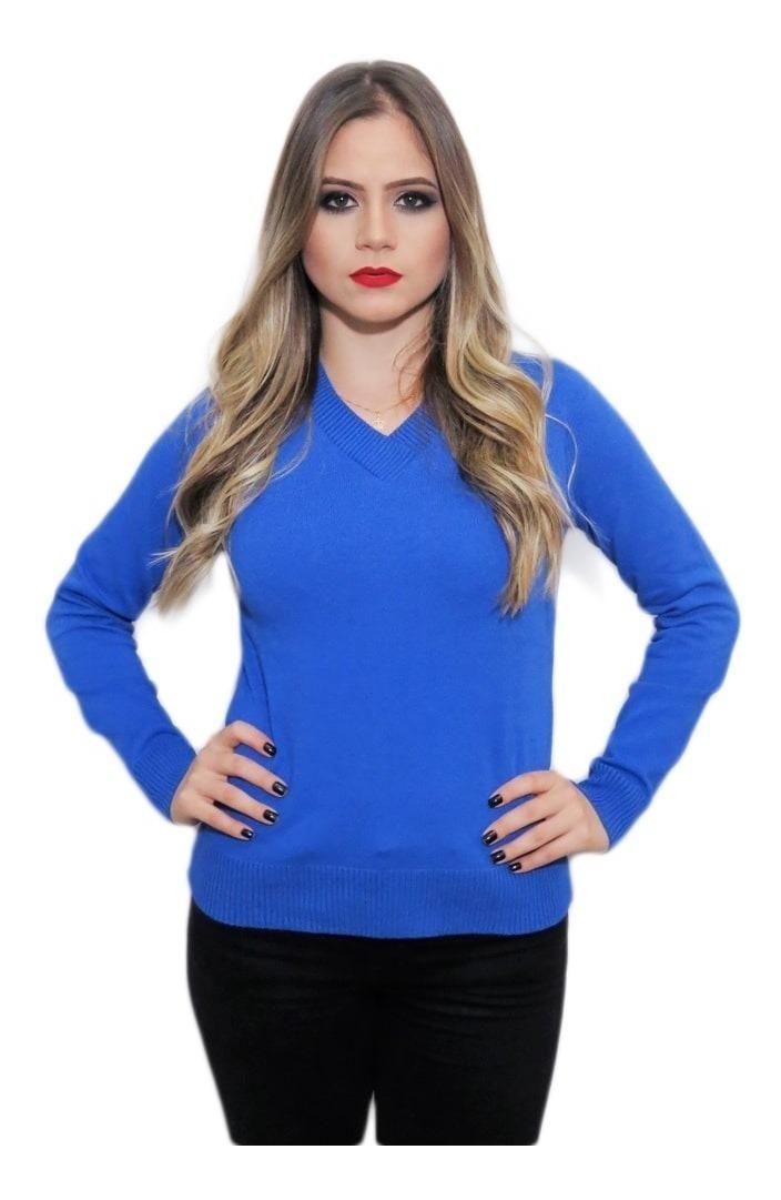 82fb102f7fe1 kit 3 blusa tricot básica de elastano gola v sueter feminino. Carregando  zoom.