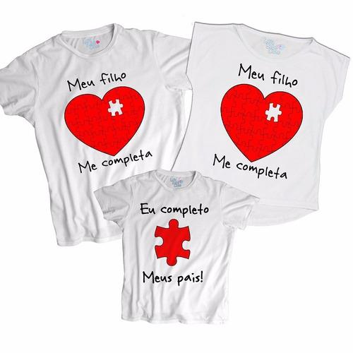 kit 3 blusas body tal pai mãe e filho meu filho me completa