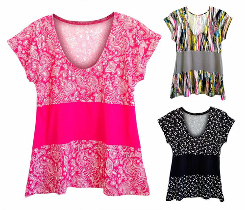 kit 3  blusas femininas plus size manga japonesa