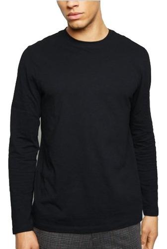 kit 3 blusas masculinas manga longa slim fit algodão básicas