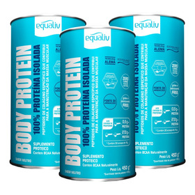 Kit 3 Body Protein 100% Proteína Isolada Neutro 450g Equali