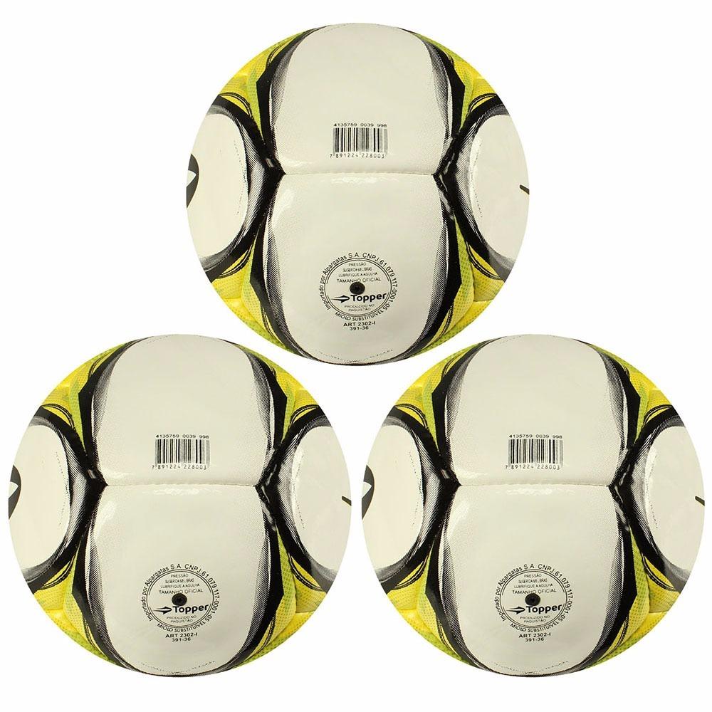 a092ccfc79028 Kit 3 Bolas De Futsal Oficial Da Topper Para O Verão - R  259