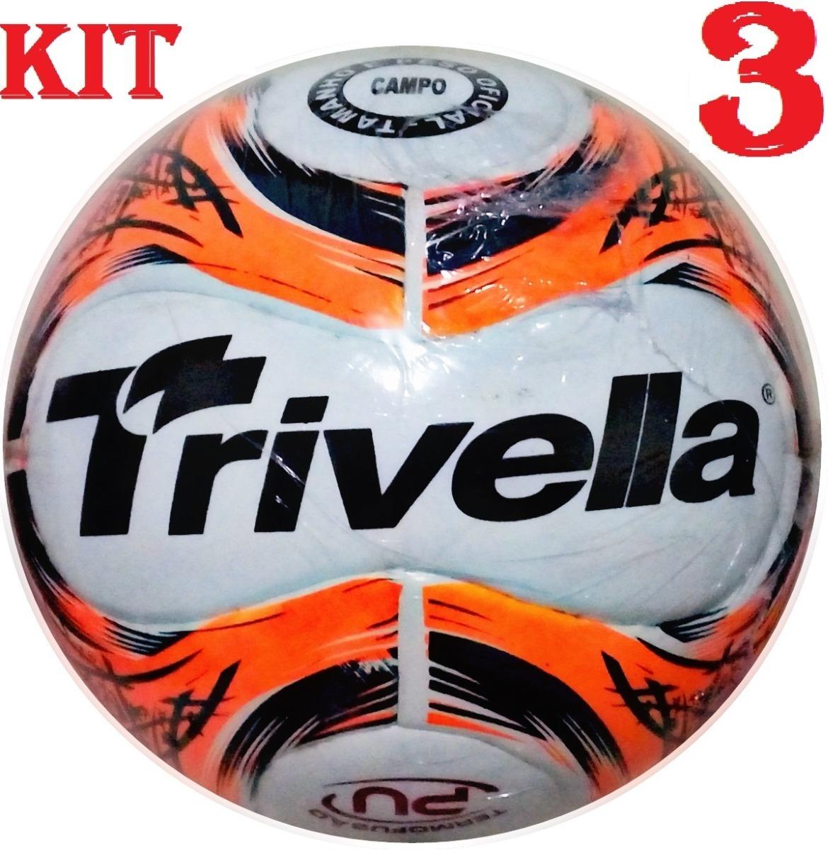 kit 3 bolas futebol campo trivella original - brasil gold. Carregando zoom. f2eb869c573ee