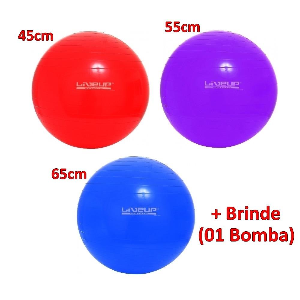 kit 3 bolas pilates liveup suíça 45 cm 55 cm 65 cm com bomba. Carregando  zoom. 0b6719784ab81