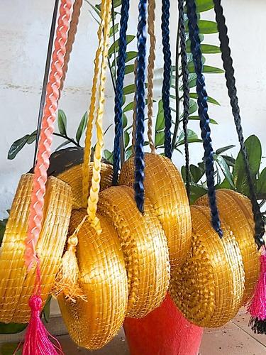 kit 3 bolsas em capim dourado