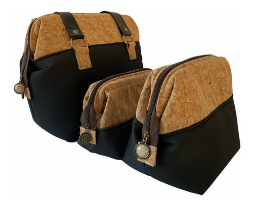 kit 3 bolsas femininas de cortiça sustentável grande e média
