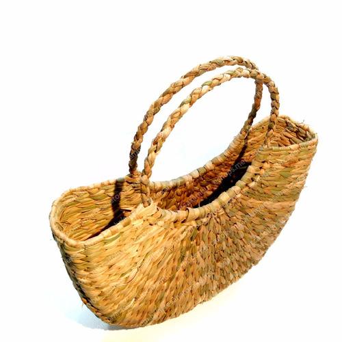 kit 3 bolsas sacolas palha taboa feira praia ref.bot.r1