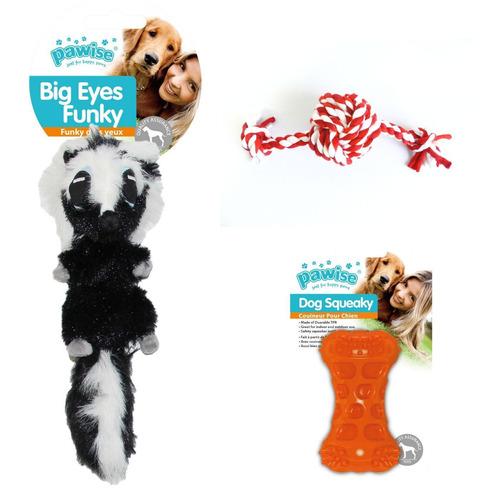 kit 3 brinquedos gamba pelúcia e mordedores pawise