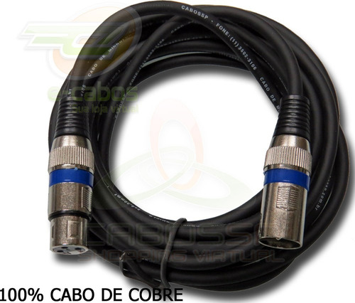 kit 3 cabos microfone/dmx - xlr/canon balanceado 5 metros