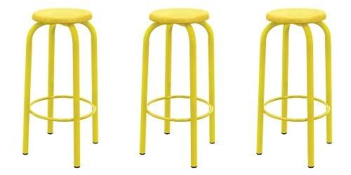 kit 3 cadeira banqueta barô alto amarelo metalmix retrô