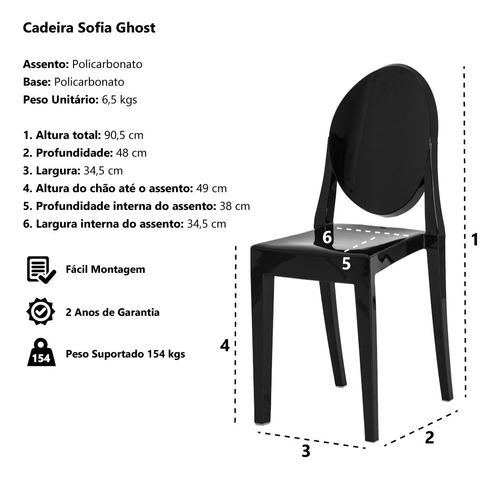 kit 3 cadeiras victoria ghost policarbonato várias cores