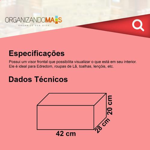 kit 3 caixas organizadora de guarda roupa edredom - p