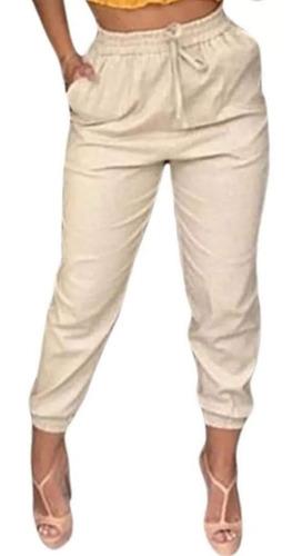 kit 3 calça bomber jogger feminina com cordao em linho
