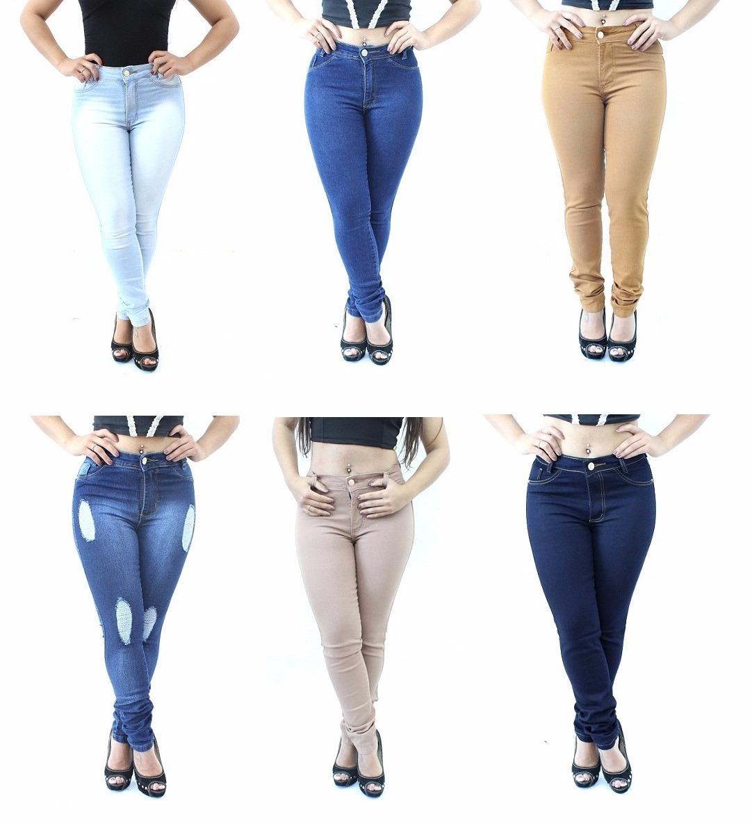 b47388960 kit 3 calça jeans cintura alta roupa feminina barata + lycra. Carregando  zoom.