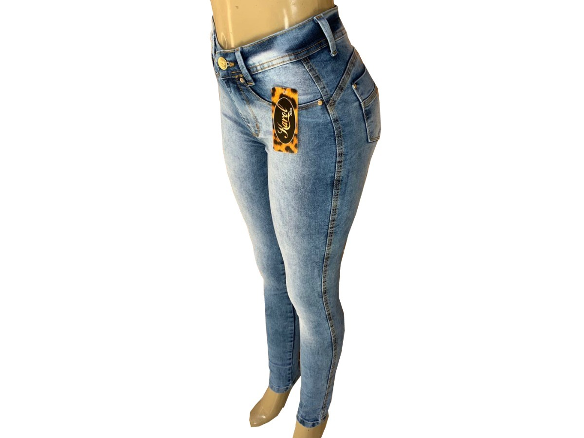7ce3dd33b kit 3 calça jeans feminina cintura alta c/ elastano,lycra. Carregando zoom.