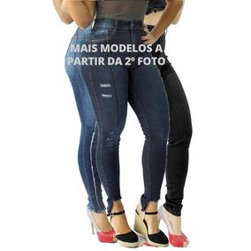 66862a77cf Kit 3 Calça Jeans Feminina Cintura Média alta Cós Alto Lycra