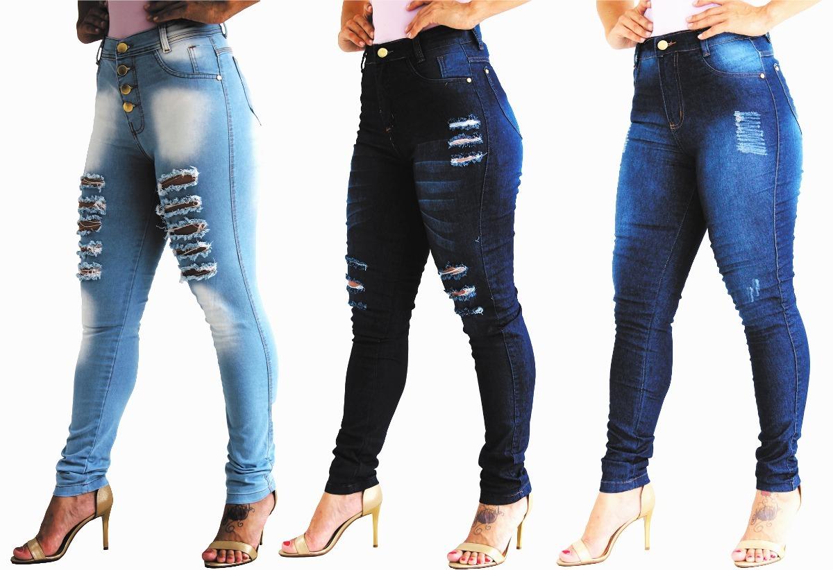 c5e4ea338 kit 3 calça jeans feminina hot pants cintura alta com lycra. Carregando  zoom.